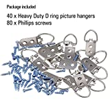 Jetovo 40 Pcs Heavy Duty D Ring Picture Frame