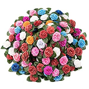 Artificial Rose Flower Heads with Leaves 200pcs Multicolor Rose Flowers Adhesive Rose Floral Stickers for Gift Wrapping Party Valentine's Day Projects Bouquets Homemade Cards Holiday Decorations 32