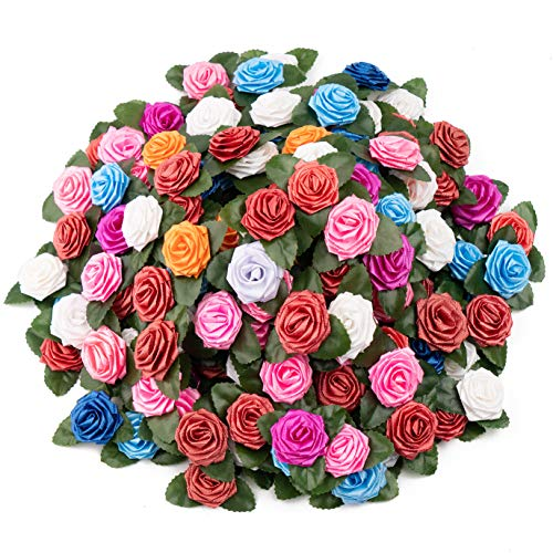Artificial Rose Flower Heads with Leaves 200pcs Multicolor Rose Flowers Adhesive Rose Floral Stickers for Gift Wrapping Party Valentine's Day Projects Bouquets Homemade Cards Holiday Decorations