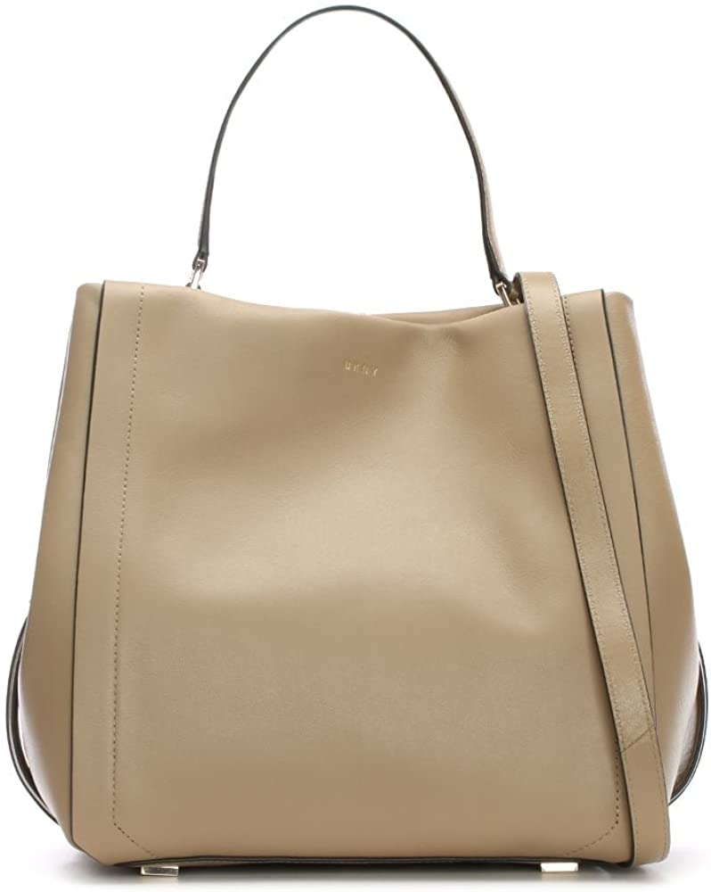 DKNY Greenwich Smooth Natural Leather Bucket Bag Beige