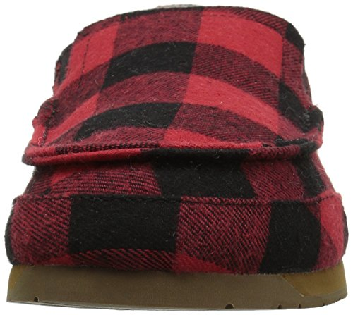 206 Colletto Mens Pergolato Pieghevole Posteriore In Shearling Mocassino Pantofola Rosso Bufalo Check Tessile