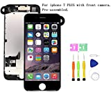Screen Replacement Compatible with iPhone 7 Plus Full Assembly - LCD 3D Touch Display Digitizer with Ear Speaker, Sensors and Front Camera, Fit Compatible with iPhone 7 Plus (Black)