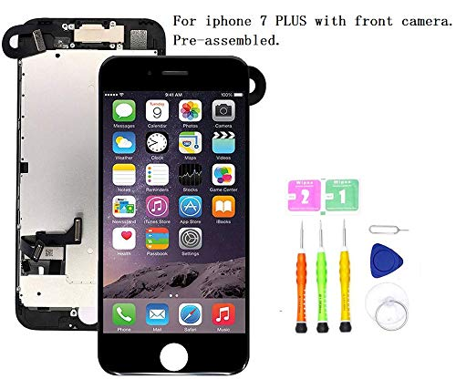 Premium Screen Replacement, Compatible iPhone7 Plus(Model A1784, A1785, A1661) - LCD 3D Touch Display Digitizer with Ear Speaker, Sensors and Front Camera, Fit Compatible with iPhone 7 Plus (Black) (I Phone Speaker Replacement)