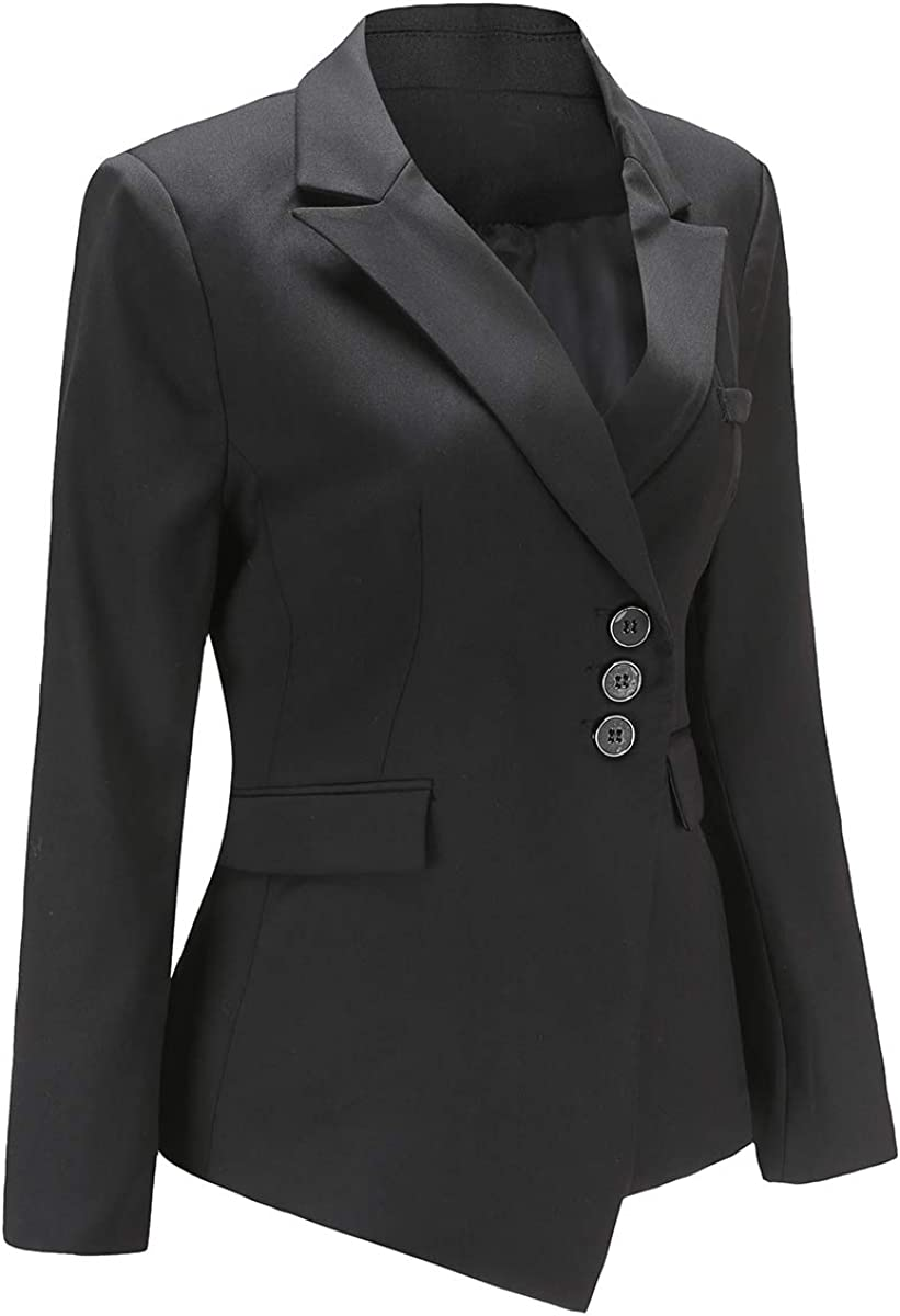YYNUDA Damem Blazer Elegant Langarm Kurzblazer Leicht Slim Fit Anzugjacke Business B/üro Jacke Top mit Reverskragen