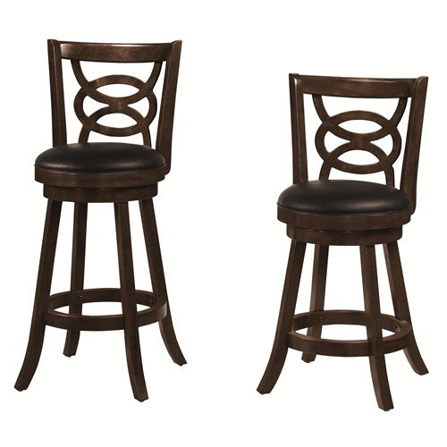 """29"""" Swivel Bar Stools with Upholstered Seat Espresso and Black (Set of 2)"""