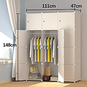 PREMAG Wood Pattern Portable Wardrobe for Hanging Clothes, Combination Armoire, Modular Cabinet for Space Saving, Ideal Storage Organizer Cube Closet for books, toys, towels (12-Cube)