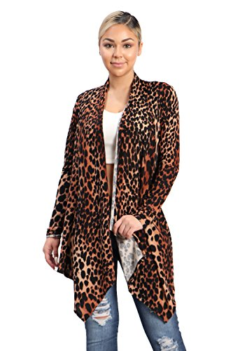Leopard Print Ribbed Cardigan - SWTD Women's Leopard Print Open Layered Front Pullover Sweater Cardigan (BROWN-T1358, Small)