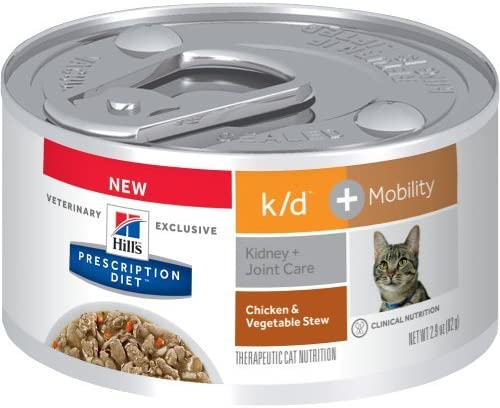 Hill s Prescription Diet k d Mobility Feline Chicken Vegetable Stew Canned Cat Food 24 2.9 oz