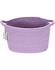 Sea Team Oval Cotton Rope Woven Storage Basket with Handles, Diaper Caddy, Nursery Nappies Organizer, Baby Shower Basket for Kid's Room
