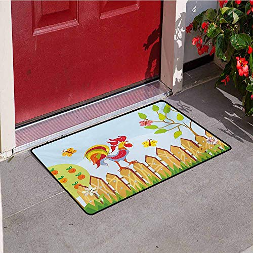 (Jinguizi Farmland Universal Door mat Border with Rooster Tree Butterfly and Flowers in Summer Kids Cartoon Farm Print Door mat Floor Decoration W29.5 x L39.4 Inch Multicolor )