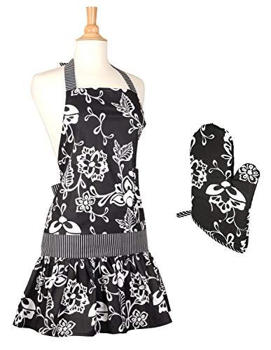 Sassy Apron Black - Flirty Aprons Kitchen Apron and Oven Mitt Matching Gift Set (Sassy Black)