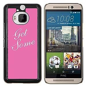 EJOOY---Cubierta de la caja de protección para la piel dura ** HTC One M9Plus M9+ M9 Plus ** --conseguir un poco de color rosa texto blanco caligrafía