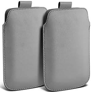 Nokia Lumia 929 Icon premium protección PU ficha de extracción Slip In Pouch Pocket Cordón piel cubierta de la caja gris (Twin Pack) por Spyrox