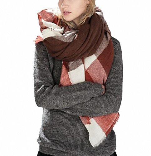 Sciarpe Check Modello 10 Winter con Lady Oversized Lattice scialle Lattes Confortevole Afibi avvolto wnAqfxSBY