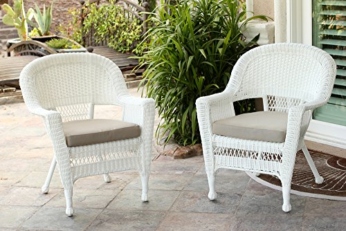 Jeco Wicker Chair with Tan Cushion, Set of 2, White/W00206- (Wicker Chairs Resin)