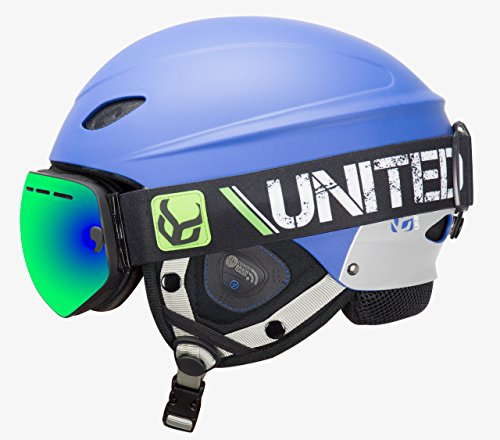 Dual Ear Headset Helmet Under (Phantom Helmet with Audio and Snow Supra Goggle (Blue, Medium))