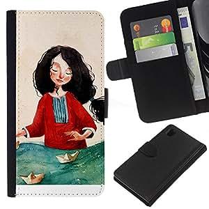 Sony Xperia Z1 / L39h / C6902 Modelo colorido cuero carpeta tirón caso cubierta piel Holster Funda protección - Woman Red Sea Art Painting