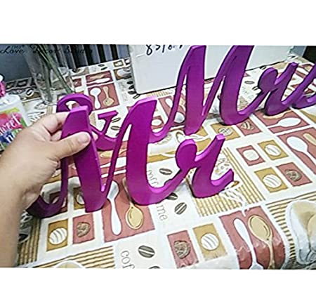 /& Mrs Mr 5 inches Purple letters wedding table decoration freestanding Mr and Mrs signs for sweetheart table