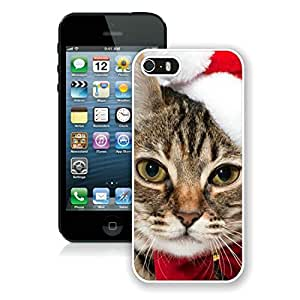 Personalized Hard Shell Iphone 5S Protective Cover Case Christmas Cat iPhone 5 5S Case 5 White