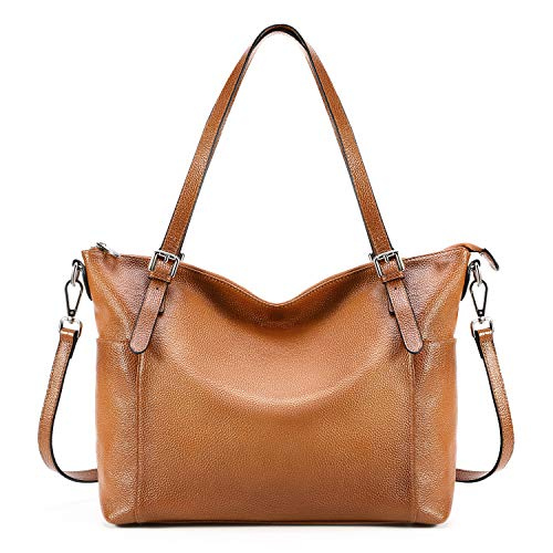 (Kattee Vintage Cowhide Leather Adjustable Strap Tote Shoulder Bag for Women (Brown))