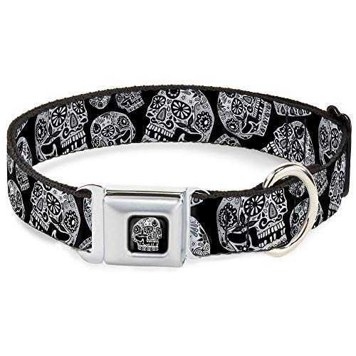 Buckle-Down Dog Collar Seatbelt Buckle The Dust of Living II Sugar Skulls Black White Available in Adjustable Sizes for Small Medium Large Dogs