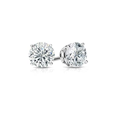 1cbc44ad4 Amazon.com: Cubic Zirconia Earrings Charms Romantic Jewelry Beautiful White  Gold Plated Studs For Wedding Elegant 4mm: Jewelry