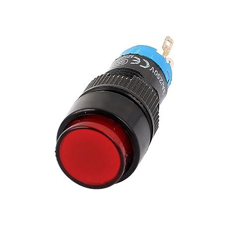 sourcingmap DC 12V Soldadura de 5 pines SPDT Interruptor Pulsador con enclavamiento Indicador rojo