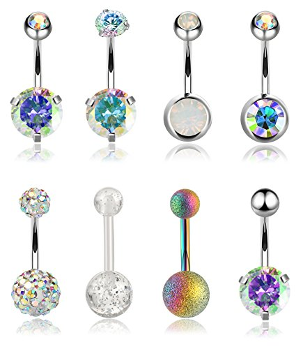 YOVORO 8PCS 14G 316L Stainless Steel Womens Belly Button Rings for Girls Navel Rings Barbell Body Piercing Jewelry ab