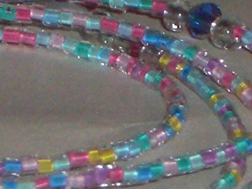 Beaded Eyeglass Chain Holder Confetti Mixed Pastel Glass Seed Beads 28 inches Fancy ends