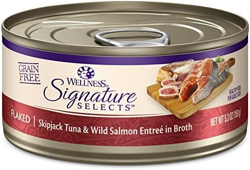Wellness Core Signature Selects Natural Canned Grain Free Wet Cat Food Flaked Skipjack Tuna Salmon