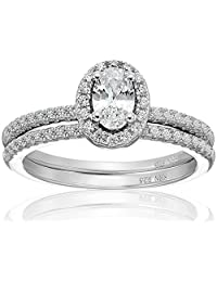 Amazon Collection Cubic Zirconia Oval Frame Bridal Set in Sterling Silver Wedding Ring