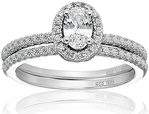 Amazon Collection Cubic Zirconia Oval Frame Bridal Set in Sterling Silver Wedding Ring, Size 7 - Silver Wedding Collection