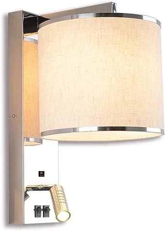 3W LED luz blanca cálida moderna luz de lectura moderna lámpara de pared lámpara de noche ajustable interruptor interior dormitorio lámpara tela punto de pared E27 luz escalera pasillo luces cocina: Amazon.es: