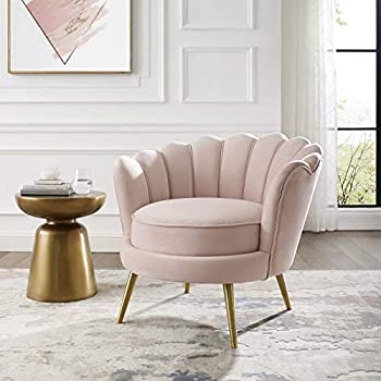 Amazon Com High Back Accent Chair In Pink Velvet And Gold