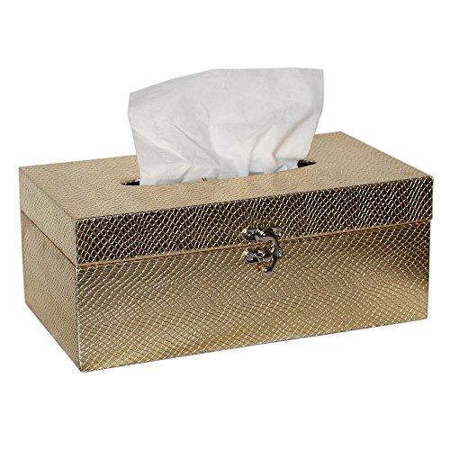 MODE HOME Crocodile Leather Tissue Box Cover Wooden Tissue Box (Gold Tissue Holder)