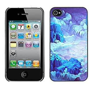 X-ray Impreso colorido protector duro espalda Funda piel de Shell para Apple iPhone 4 / iPhone 4S / 4S - Iceberg Planet Space Terrain Blue