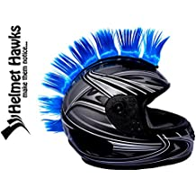 "Helmet Hawks Motorcycle, Ski or Snowboard Helmet Mohawk w/ Sticky Velcro Adhesive (8) Hair Patches 2"" long x 3"" Tall - Fluorescent Neon Blue"