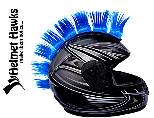 "Helmet Hawks Motorcycle, Ski or Snowboard Helmet Mohawk w/Sticky Hook and Loop Fastener Adhesive (8) Hair Patches 2"" long x 3"" Tall - Fluorescent Neon Blue"