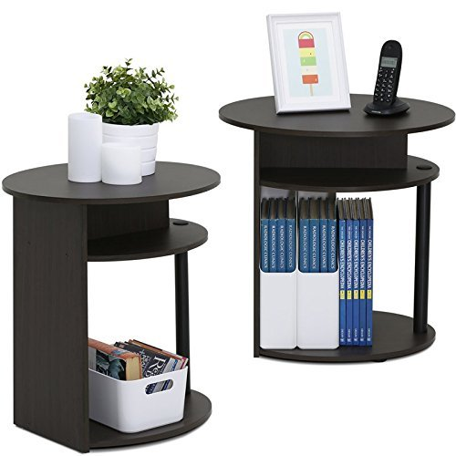 Round End Table Set of 2 Coffee Table With Storage Area Side Table With Under Storage Shelf Room Décor End Table Espresso finish Cocktail Table Nightstand Set of 2 End Tables with shelves by Table King (Image #3)