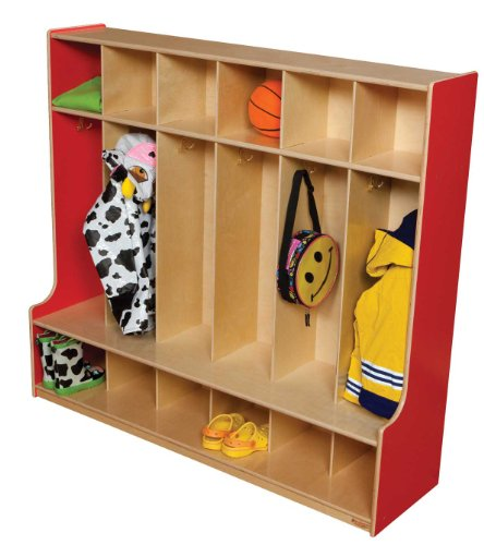 Healthy Kids Colors WD51006R Strawberry Red 6 Section Seat Locker (Unit Sanded Shelving)
