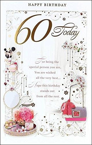 Edad 60 hembra Tarjeta de cumpleaños - 60 hoy rosa flores ...
