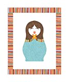 Multicultural Doll, Matryosha Like Doll Print 11x14 Inches, Doll Design Cute Russian Matryoshka Nesting Dolls Print 11x14, Cute Doll Design, Nursery Décor For Girls, Baby Girl Décor, Playroom Décor