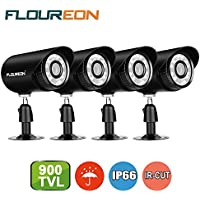 Floureon 4 Packs 900TVL CCTV Security Bullet DVR Extra Camera 4mm Lens 24 Infrared Leds Camera with 15M Night Vision IP66 Waterproof Outdoor Compatiable With CCTV Security System