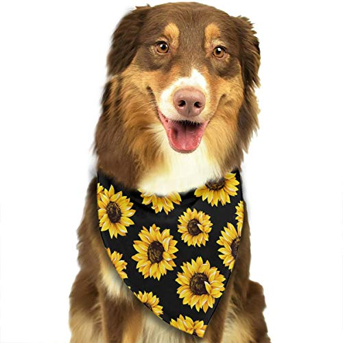 OURFASHION Hipster Golden Sunflowers Bandana Triangle Bibs Scarfs Accessories for Pet Cats and Puppies -