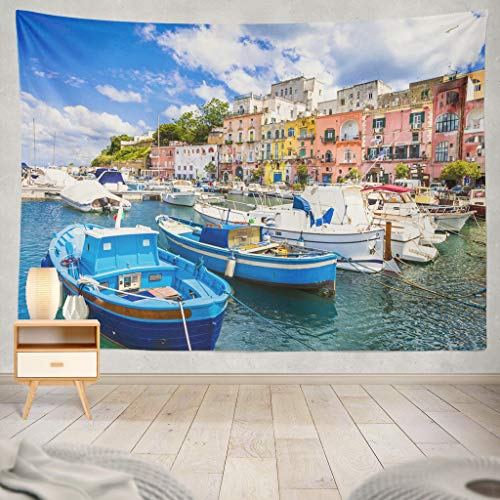 - KJONG Beautiful Italian Coast Italy Italian Boat Fishing Beautiful Beach Buildings Colorful Europe Green Holiday Decorative Tapestry,60X60 Inches Wall Hanging Tapestry for Bedroom Living Room