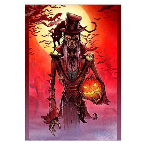 Feccile Halloween Decoration,5D DIY Diamond Painting by Number Kits,Crystal Rhinestone Embroidery Paintings Arts Craft for Home Wall Decor, Full Drill,10x12 inch- (Grim Reaper Evil Cat) -