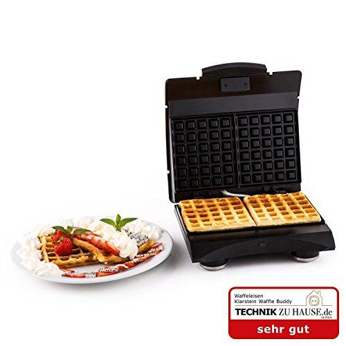 Klarstein Waffle Buddy Vintage Retro Waffeleisen Doppel Edelstahl Waffelautomat für dicke Waffeln (700 Watt, 2 Heizflächen, hochwertige Antihaftbeschichtung) creme