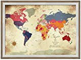 Framed Vintage Inspired Map, 24X36 Inches, Push Pin Travel, Gift for parents, Personalized gift