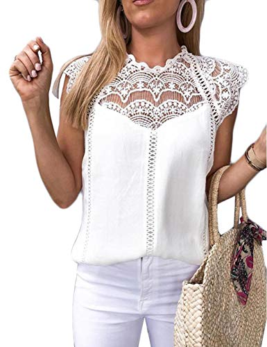 Ninimour Women Crochet Lace Trim Splicing Casual Blouse White S