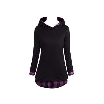 Clearance Women Tops LuluZanm Long Sleeve Hood Hoodies Shirt Tops Women Casual Patchwork Plaid Blouse